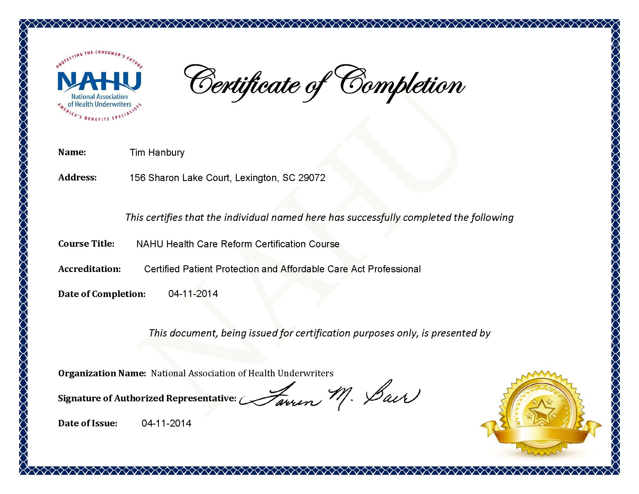 Hanbury group tim hanbury registered health underwriter rhu certificate 1betcityfo Image collections